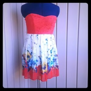 Trixxi floral strapless dress size 3